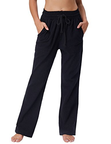 GRACE KARIN Women's Relaxed-Fit Pant for Work Straight Cotton Pants Trouser Black L