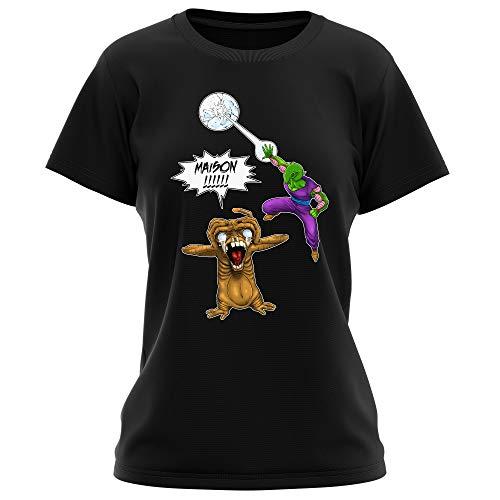 Okiwoki T-Shirt Femme Noir DBZ et E.T. Extra-Terrestre parodique Piccolo et E.T l'Extra-Terrestre : Maison !!!!!!!!!!!!!!! (Parodie DBZ et E.T. Extra-Terrestre)
