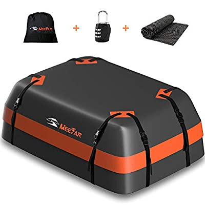 XBEEK Car Roof Bag Rooftop Cargo Carrier Waterproof 15 Cubic Car Top Carrier for All Cars with/Without Rack, Includes Anti-Slip Mat, 8 Reinforced Straps, 6 Door Hooks, Luggage Lock