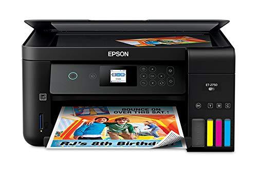 Epson Expression C11CG22201 ET-2750 EcoTank Wireless Color All-in-One Supertank Inkjet Printer, Copier, Scanner - 10.5 ppm ISO (Black), 5.0 ppm ISO (Color) - 5760 x 1440 dpi - Hi-Speed (Renewed)