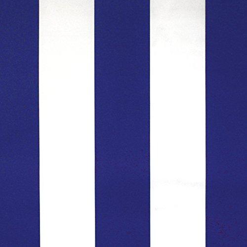 NOVELY® Sunrise Oxford 420D Markisenstoff | extrem reißfestes und dichtes Gewebe | UV-beständig (4-5 von 8) | Polyester Stoff Outdoor Meterware Strandkorb Zeltstoff wasserdicht W-21 Weiß-Blau