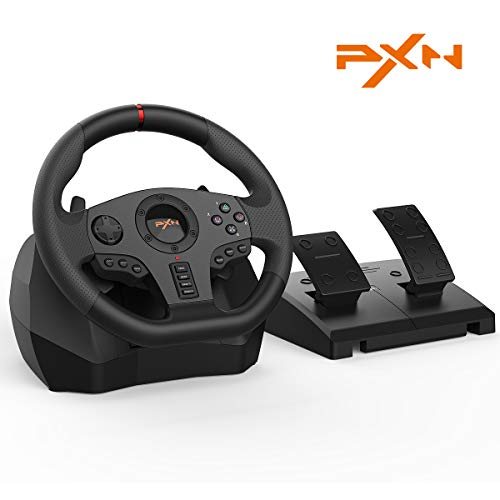 PXN V900 Racing Wheel PC,Experience Left and Right Dual Vibration Motors and 270/900° Spin Racing Game Steering Wheel with Linear Pedals/Accelerator Brake for PC/PS4/Xbox One/Nintendo Switch Host