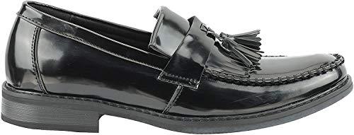 Xposed Herren Mokkasins Leder Tassel Loafers Retro, Gr.-42 EU, Schwarz