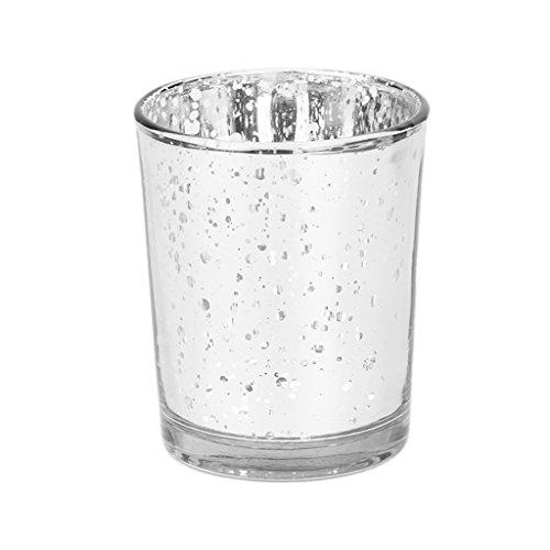 Yunso Argent mosaïque en verre bougeoirs Photophore Bougie chauffe-plat pour mariage Home Party Decor
