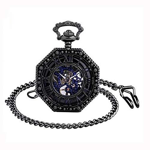 GZYM Uhr-Männer Taschen mit römischen Ziffern, Skalenscheibe, mit Halskette, analog, in Skelettform,Schwarz