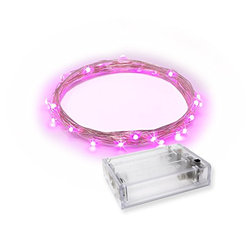 RTGS Products 30 LEDs Lights Indoor and Outdoor 9.5 FEET String Lights, Fairy Lights Battery Powered for Patio, Bedroom, Holiday Decor, etc (Pink)