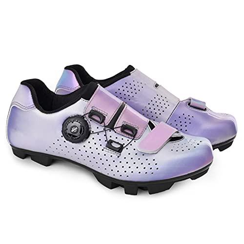 Zapatillas De Ciclismo Unisex para Hombre Y Mujer MTB Montar con Zapato Peloton Cala Compatible Pedal (Color : Purple, Shoe Size : 43EU)