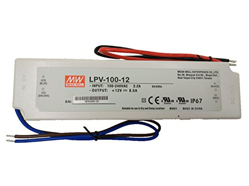 MW Mean Well LPV-100-12 LED Driver 102W 12V IP67 Power Supply...