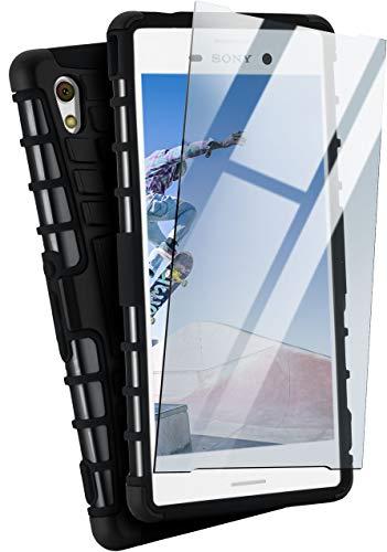 MoEx® Panzer-Schutz Set - Tank Case + Schutzglas passend für Sony Xperia M4 Aqua | Gehärtetes Glas + Extrem robuste Double-Layer Hülle, Schwarz