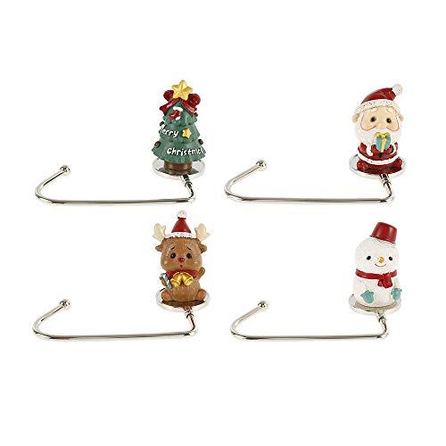 Jtweb, 4 ganci per calza di Natale, in metallo, antiscivolo, per appendere le calze di sicurezza, per feste, albero di Natale, camino, decorazioni color oro rosa (#01)