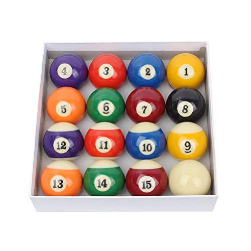 ABOOFAN 1 Set/16 Stück 48 mm Billardkugel-Set Zahlenstil Professionelle Regulationsgröße Billard Pool Bälle Komplettset für Home Club Spielzubehör