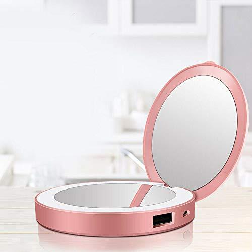 MomokaiTK Lampe Miroir Trave d'outil cosmétique de beauté légère légère du Miroir LED Rond de Maquillage HD, Rouge
