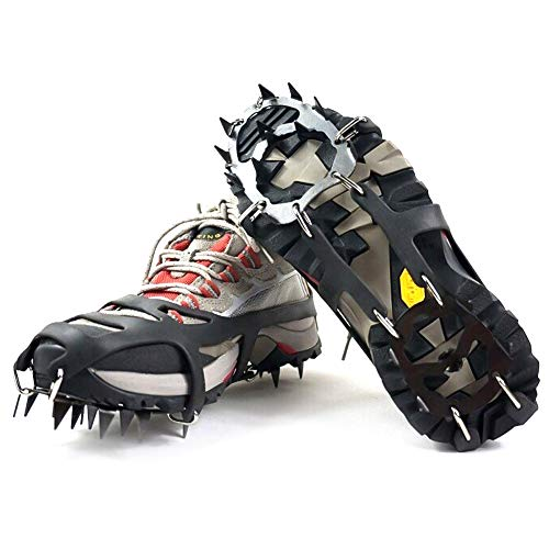 yHRgETLD 1 Pair Traction Cleats, 18 Teeth Stainless Steel Durable Silicone Crampons Ice Snow Grips, for Walking, Jogging, Hiking M