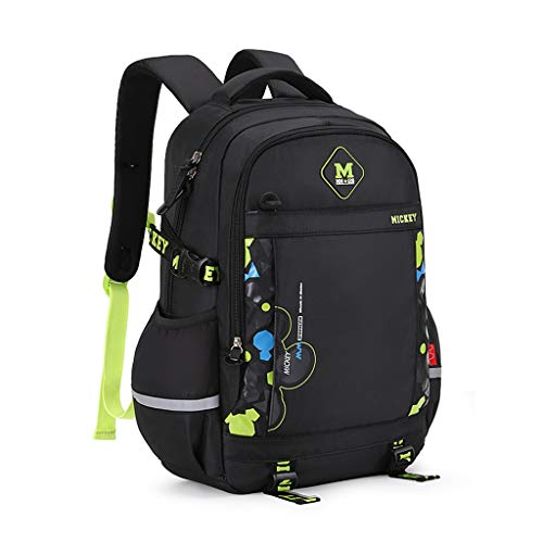 SHINY X-LOVE Junge Rucksäcke, Lässige Rucksack Schulranzen for Kinder Kinder Rucksack Schüler Daypack Buch-Tasche for Die Schule for 1-6 Klässler (Color : Black, Size : 32 * 16 * 46.5cm)