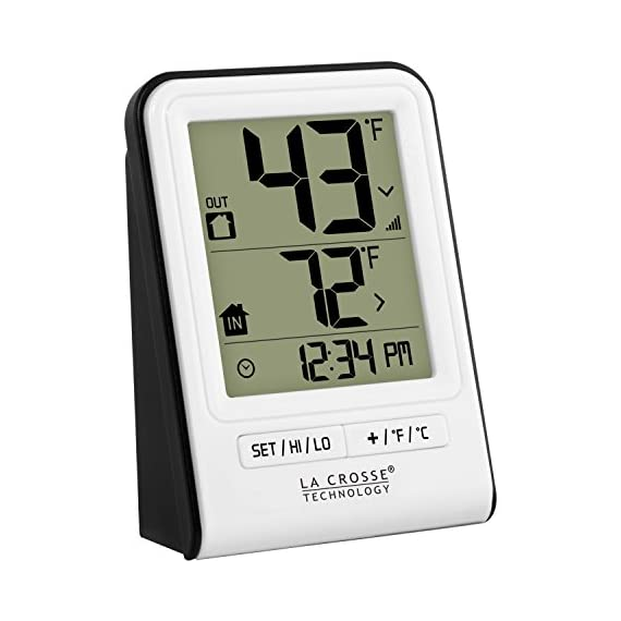 La Crosse Technology 308-1409WT-CBP Wireless Temperature Station, White 2 Monitors indoor & wireless outdoor temperatures (F/C adjustable) Hi/low records of temperature values Indoor Humidity (%RH)