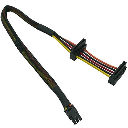 COMeap HDD SATA Stromkabel Ersatz Rechtwinkliger SATA 15-Pin x2 auf Mini 6-Pin ATX-Adapter für Dell Inspiron 3653 3650-Serie Kompatible Teile-Nr. GP2JM 14,5-Zoll (37 cm)