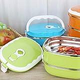 Ordertown Candy Color Studenten - Fiambrera portátil (1/2 capa, rectangular, acero inoxidable) 2 Schicht verde