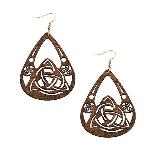 Large Lightweight Brown Wood Celtic Knot Teardrop Drop Earrings