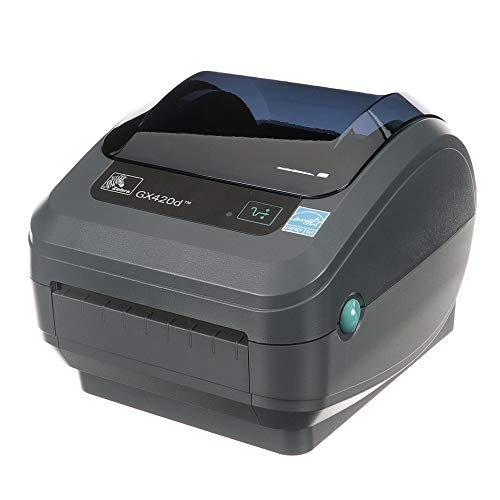 Zebra GX420d Direct Thermal Desktop Printer Print Width of 4 in USB Serial and Ethernet Port Connectivity Includes Cutter GX42-202412-000