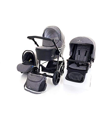 Venicci Shadow 2.0 3-in-1 Travel System – Denim Grey - with Carrycot + Car Seat + Changing Bag + Apron + Raincover + Mosquito Net + 5-Point Harness and UV 50+ Fabric + Car Seat Adapters + Cup Holder