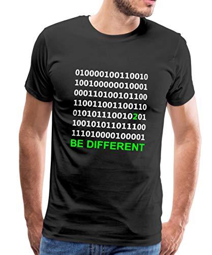 Binärcode Be Different Männer Premium T-Shirt, M, Schwarz