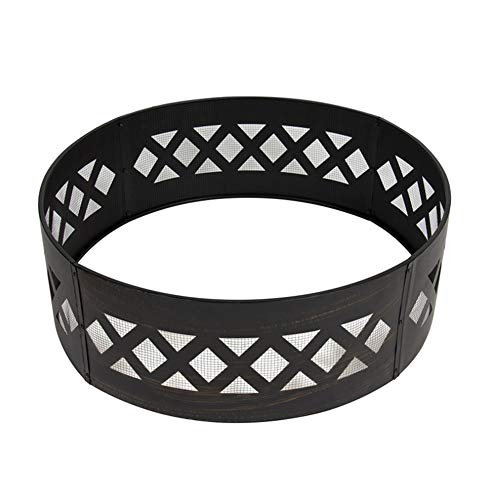 N / A Portable heavy-duty 37-inch light wooden fire pit fire ring, high specification steel, heat-resistant coating, fire ring, anti-rust, bottomless, easy to assemble