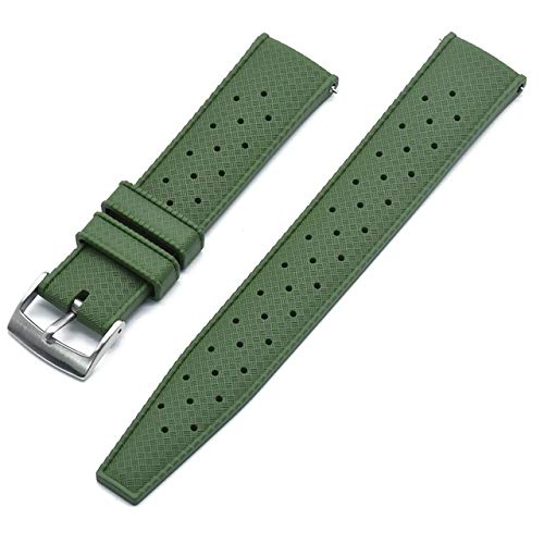 Correa de Reloj de Goma de Grado Premium 20 mm 22 mm Reloj de Reloj Buceo Buceo Impermeable Pulsera Color Negro Correa Reloj (Band Color : Green New, Band Width : 22mm)
