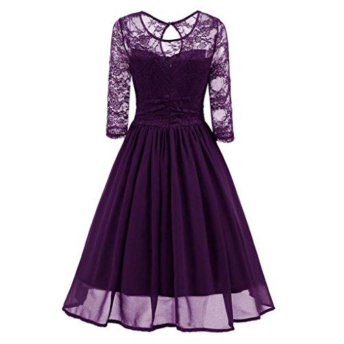 Amlaiworld Damen Blumen Vintage Abendkleid elegant Hochzeit Kleider Retro Party Klassische Strickkleid Herbst Frühling Abschlussball Kleider (L,...