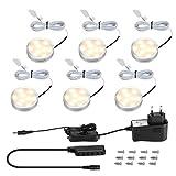 LE Schrankbeleuchtung LED Unterbauleuchte Küche Set 12W 1020LM 3000K, Inklusiv alle Zubehör, 120 Abstrahlwinkel, Vitrinenbeleuchtung, LED Lichtleiste, Küchenlampen(Warmweiß, 6er Pack)