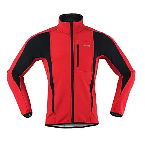 d.Stil Giacca Ciclismo Uomo Invernale Impermeabile Antivento Traspirante A Maniche Ultraleggera MTB Windstopper Lunghe (Rosso, 2XL)