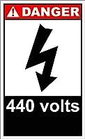 セキュリティサインアルミニウム屋外および屋内サインインチ、440ボルト危険サイン、危険アルミニウム金属道路標識壁装飾錫サイン壁板金属ポスター壁プラーク
