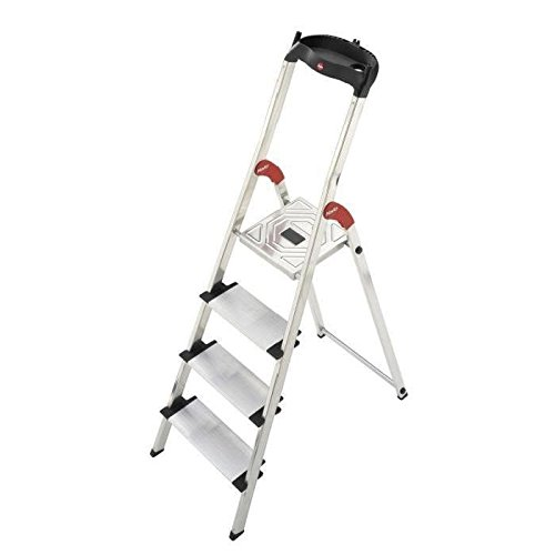 Hailo 5_8814-001 001-Escalera de Tijera de Aluminio Ancho XXL EasyClix (4 peldaños), Gris