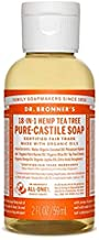 Dr. Bronner's - Pure-Castile Liquid Soap (Tea Tree, 2 ounce) - Made with Organic Oils, 18-in-1 Uses: Acne-Prone Skin, Dandruff, Laundry, Pets and Dishes, Concentrated, Vegan, Non-GMO