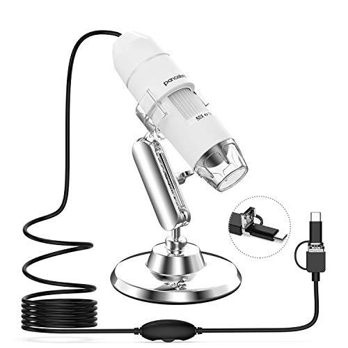 Pancellent Digital Mikroskop, 1080P 50X bis 1000X USB-Vergrößerungsmikroskopie mit 8 LEDs, 12er-Pack-Objektträgersammlung (Erste Schritte, Nicht iPhone/iPad, Weiß)