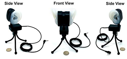 MS-Mini-BINAURAL-Ears - Master Series by Sound Professionals Ultra Low Noise Professional Adjustable Binaural Microphone w/Realistic Human-Shaped Ears with Stand and Mount - Made in USA - Item #15029