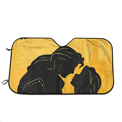 YQLDFB Parasol para Parabrisas de Coche Beauty and The Beast Sun Heat Shield Shade UV Ray Visor Protector, Mantener el vehículo Fresco