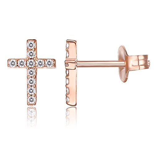 PAVOI 14K Rose Gold Plated Girls Sterling Silver Earrings | Pave CZ Rose Gold Cross Earrings for Women