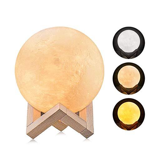 Lampe Lune 3D, omitium LED Lampe Lune Tactile 3 Couleurs...
