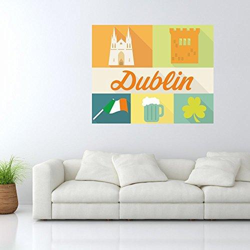malango® Wandbild - Dublin Wand Bild Schriftzug Flagge Sehenswürdigkeiten Stadt Land Irland Wanddekoration Wanddesign ca. 120 x 97 cm digitalgedruckt
