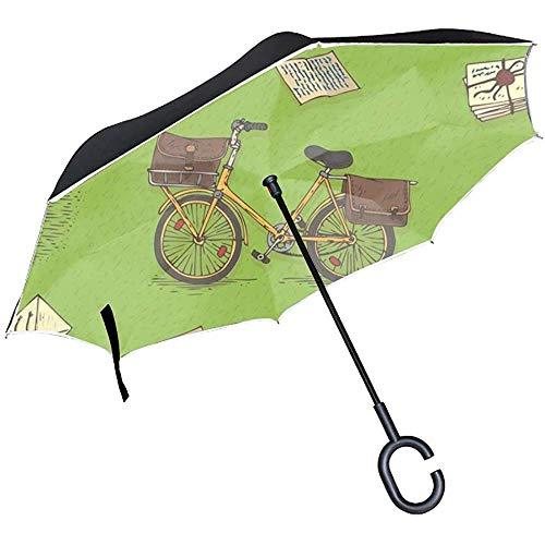 Fietsen Enveloppen Omgekeerde Paraplu met C Vorm Handvat Anti UV Waterdichte Winddichte Rechte Paraplu voor Auto Regen Outdoor Gebruik
