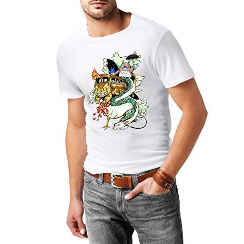 Studio Ghibli - Camiseta Hombre - 100% Algodón (L, Blanco)