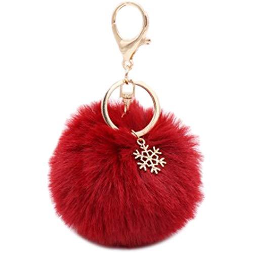 Fablcrew Porte-Clés Pompon et Flocon de Neige de Noël Pendentif pour Voiture Téléphone Pochette Accessoires de Fête Décoration Maison Pendentif Accessoires (Vin Rouge)