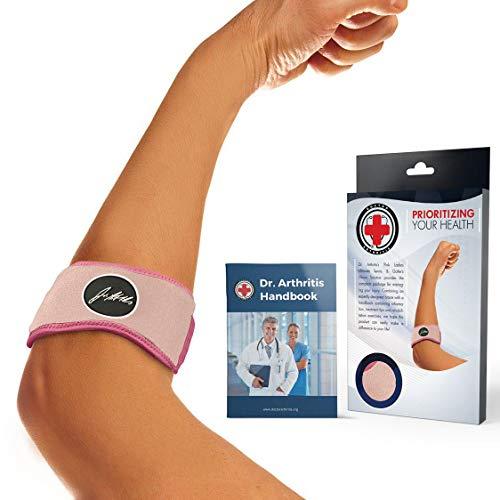 Dr. Arthritis - Ellenbogenbandage inkl. Handbuch vom Arzt - Premium Tennisarm Bandage Für Den Unterarm - Ideale Unterstützung Bei Sport & Schmerzen - Ellenbogenschoner/ Ellbogen Bandage - Rosa
