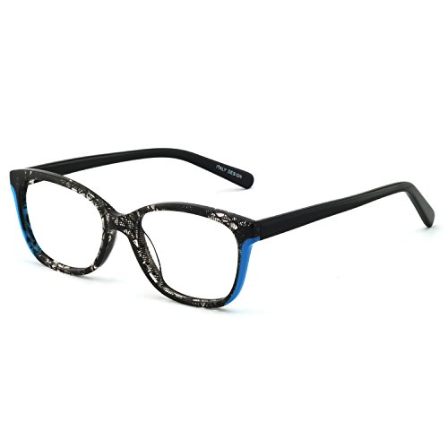 OCCI CHIARI Blue Purple Non-prescription Glasses Eyeglasses Clear Lens Eyewear Frame for Women 52mm (Black/Blue)