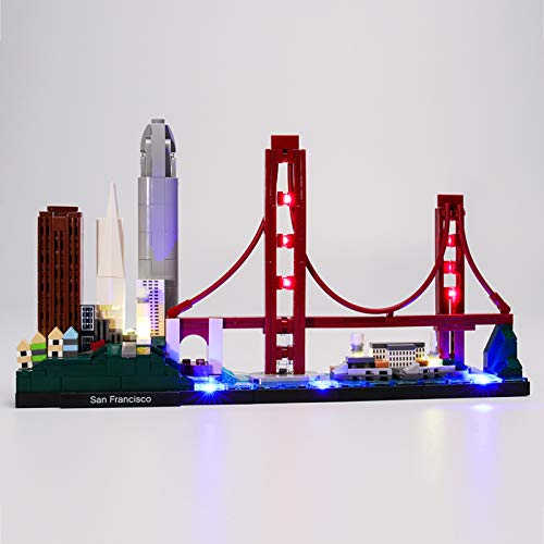 Upgrade LED Light Kit for Architecture San Francisco Building Blocks Model, LED Light kit Compatible with Lego 21043 (Not Include The Lego Model)
