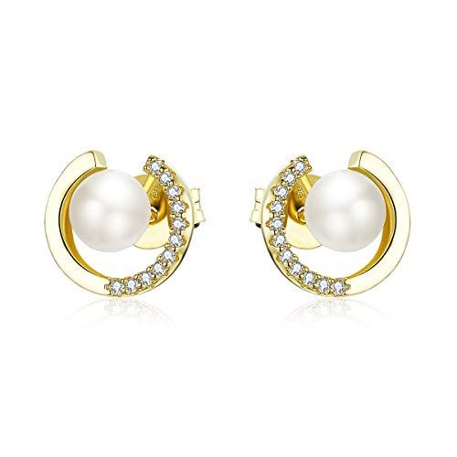 Pendientes de perlas de plata de ley 925 chapados en oro con circonita cúbica para mujeres y niñas