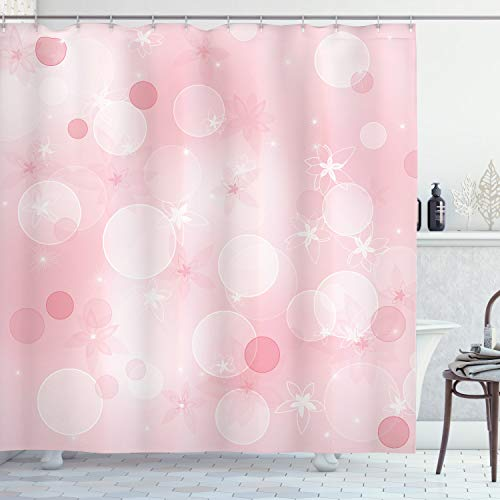 ABAKUHAUS Blasses Rosa Duschvorhang, Floral Hazy Spots, Trendiger Druck Stoff mit 12 Ringen Farbfest Bakterie und Wasser Abweichent, 175 x 200 cm, Hellrosa