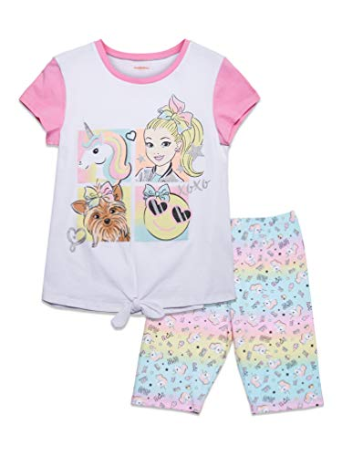 JoJo Siwa Little Girls Tie Knot T-Shirt & Bike Shorts Set White/Pink 6