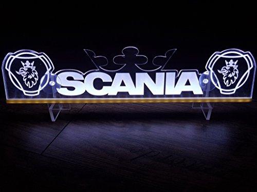 24?V LED Light Neon plaque pour Scania Trucker Camion Blanc Eclairage plaque Table Couronne Cabine D?coration Accessoires grav? au laser 24?V/5?W
