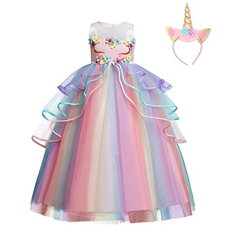 Nnjxd Mädchen-Einhorn-Kleid mit Applikation, Party, Cosplay, Halloween-Kostüm Gr. 6-7 Jahre, rosa-719